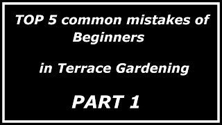 Top 5 common mistakes by beginners in Terrace Gardening (Part - I)
