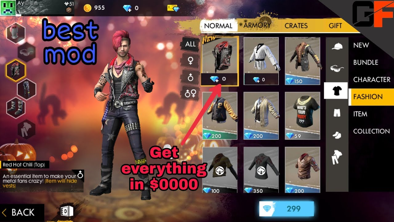 HACK FREE FIRE, all clothes unlocked , 100% working with gameplay