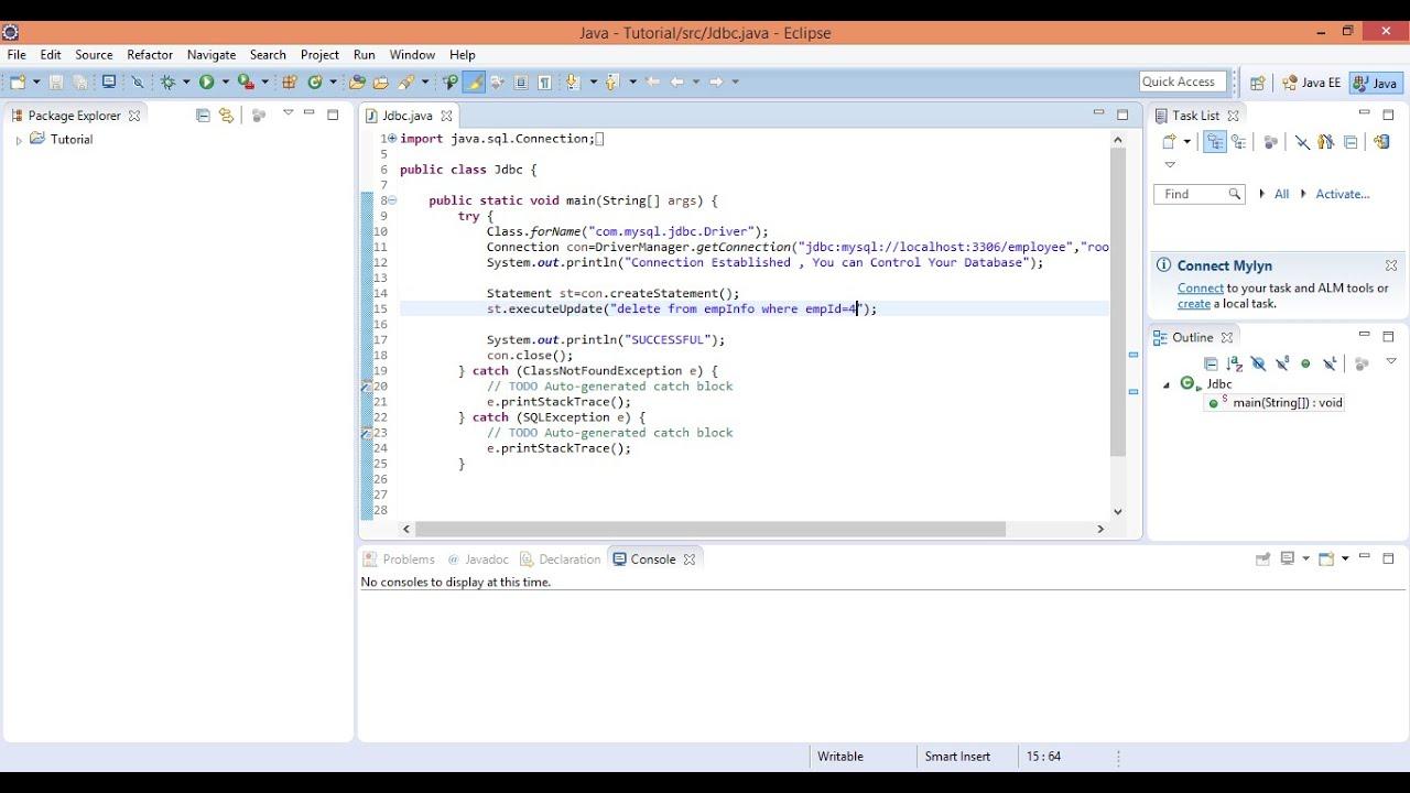 JDBC USING MYSQL TUTORIAL 3 SWITCH CASE