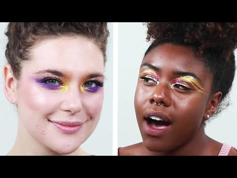 Women Try Bold Eye Looks For A Day
