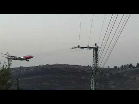 747 Super tanker, fire fighting in Israel