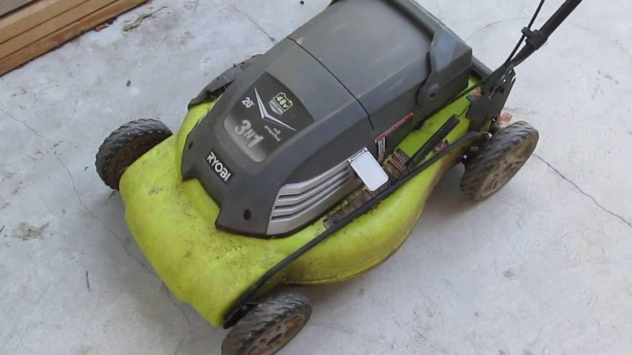 48 Volt Battery >> Teardown: Ryobi 48V Cordless self propelled lawn mower - YouTube
