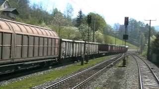 """One """"fast"""" ÖBB freight train overtake our slower passanger train - High Quality full version!"""