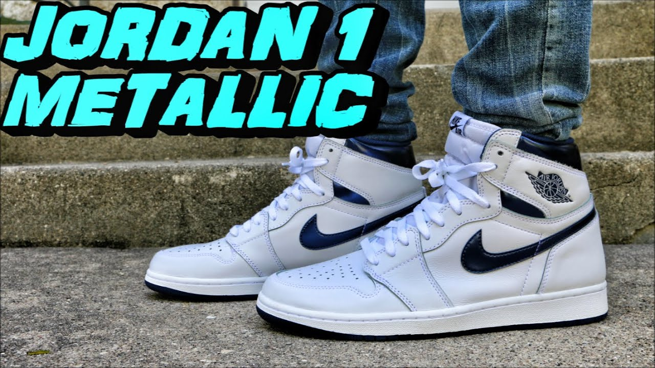 odebrać Kup online sklep internetowy Air Jordan 1 High OG White Metallic Navy - Review + On Foot