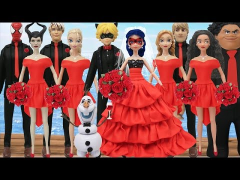 Play Doh Spiderman Ladybug Cat Noir Moana Maui Elsa Jack Frost Anna Olaf Maleficent FROZEN (2)