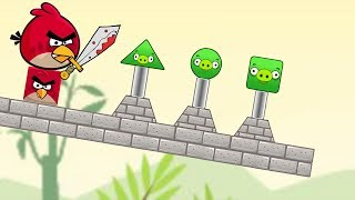 Angry Birds Pigs Out - RED VS TRIANGLE AND SQUARE PIG KICKING GAME!