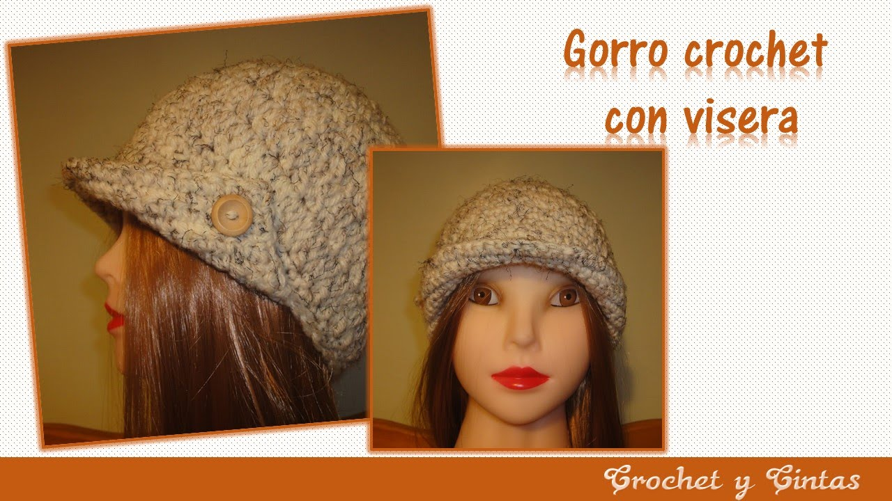 Gorro crochet (ganchillo) para mujer con visera - YouTube 638fb76e11e