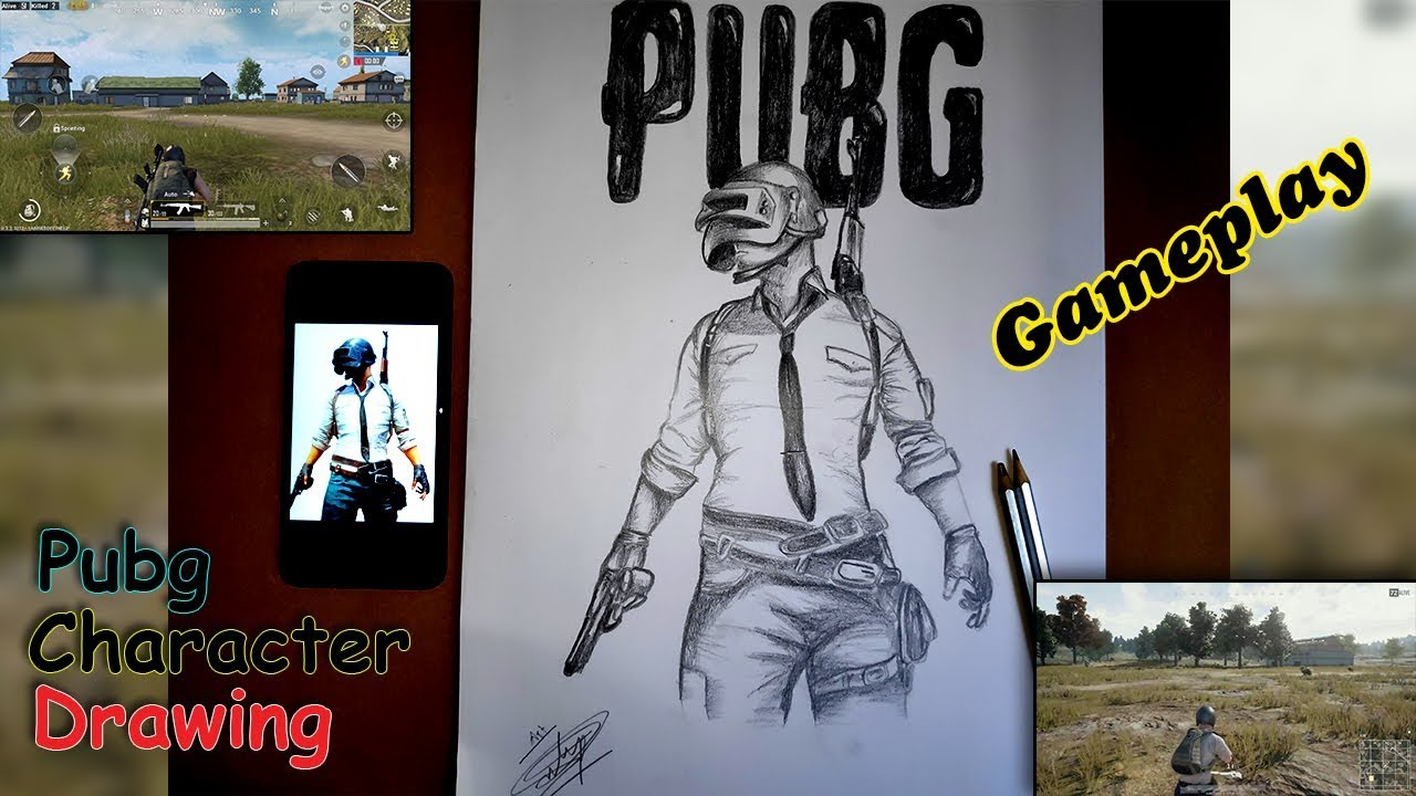 Pubg Game Character Drawing Pubg Mobile Gameplay Youtube