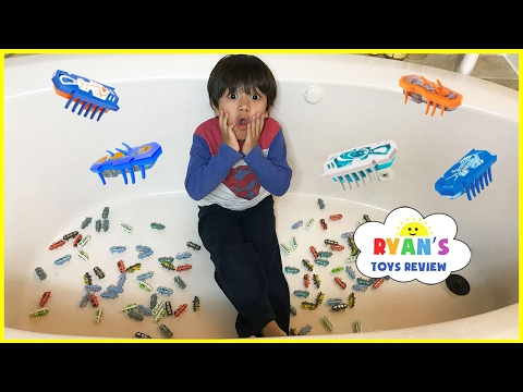 Thumbnail: 100+ HexBug Nano Toy Hunt Challenge in the Bathroom! Egg Surprise Toys for kids Lego Batman