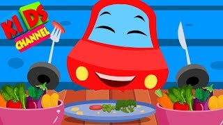 little red car song eat vegetable with LRC for childrens