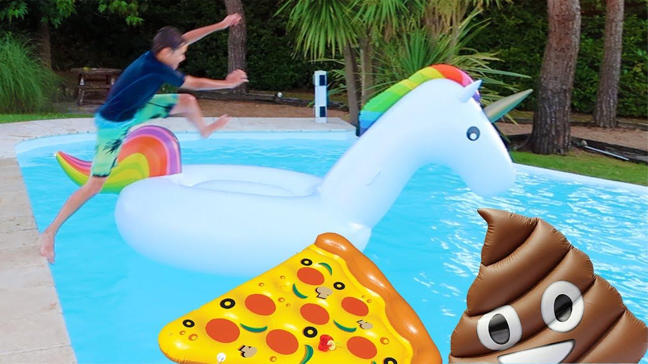 Challenge sauts dans la piscine sur des gonflables for Swan et neo piscine