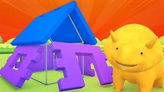 Lerne Farben beim Bauen eines Speilhauses - Dino dem Dinosaurier 👶 Lehrreiche Cartoons für Kinder
