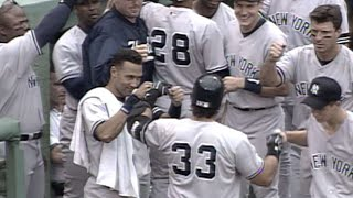 9/9/00: jose canseco takes tim wakefield deep over the green monster for a two-run homer to pad yankees' lead 5-1about major league baseball: le...