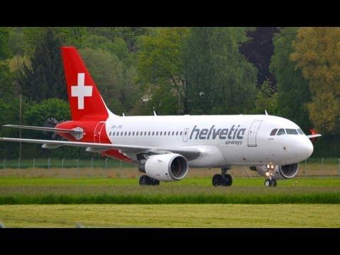 Helvetic Airbus A319 - First landing in Berne HD