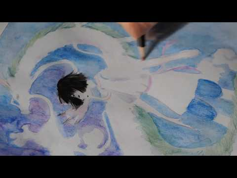 Haku From Spirited Away Dragon Transformation Watercolor Pencil Drawing And Painting Process Youtube