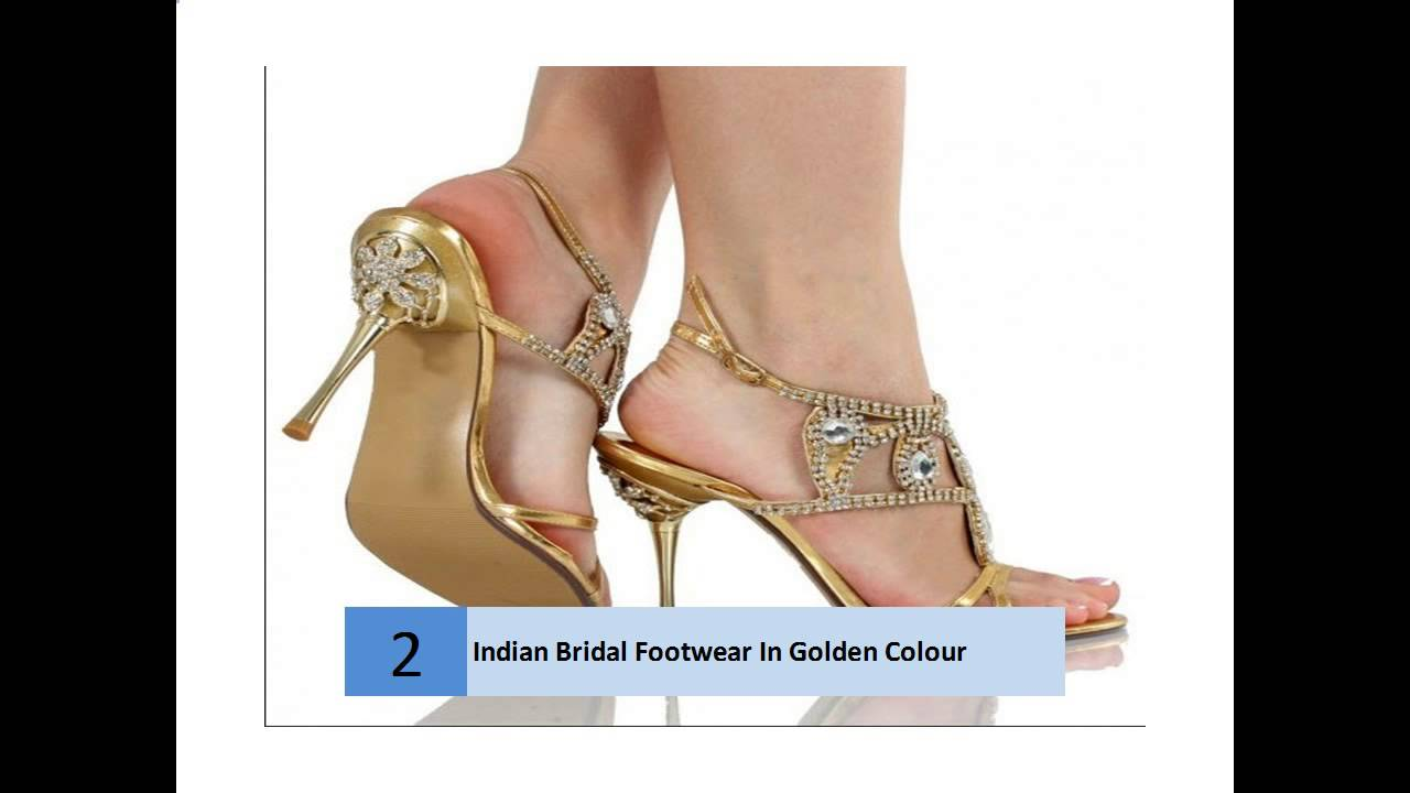 7979b9f53 Indian Bridal Footwear In Golden Colour - YouTube