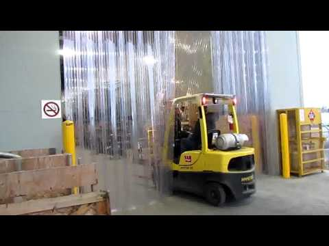 Forklift Passage Demo - Accordion Mount Strip Door Kit