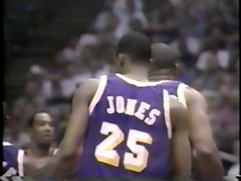 Eddie Jones tries to dunk on Olajuwon and Horry - Lakers @ Rockets, Game 4, 1996 Playoffs