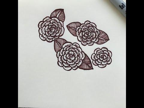 วาดดอกไม้ลายเส้น แบบง่ายๆ คลายเครียด #2