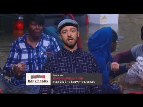 Justin Timberlake makes speech for Hand in Hand Hurricanes Harvey and Irma relief fund.