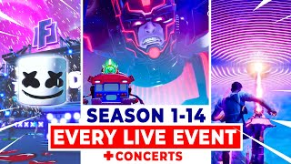 All Fortnite LIVE-EVENTS (Season 1-14 *NEW* GALACTUS EVENT)