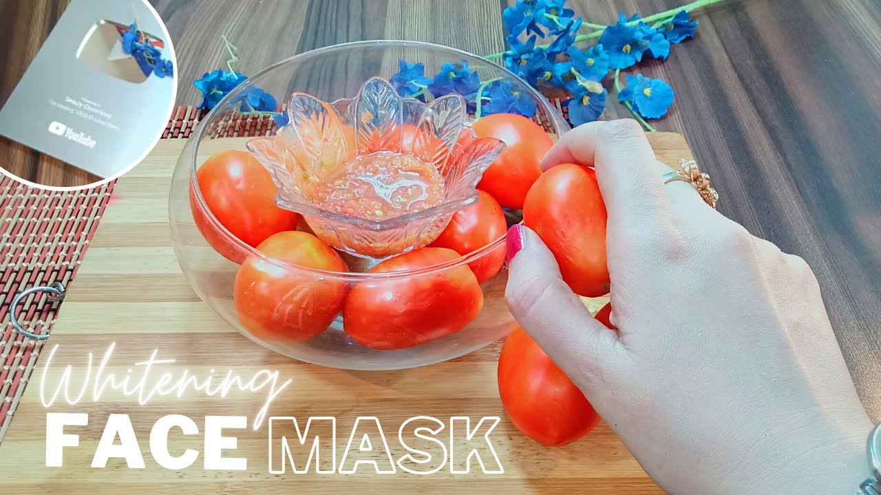 """Skin Whitening """"Tomato Face Mask"""" For Whiter, Brighter And Fair Skin (Tips & Play Button)"""
