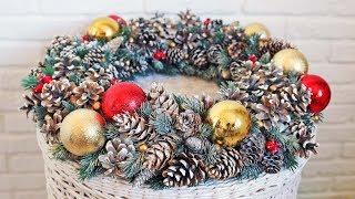 как сделать рождественский венок из шишек своими руками