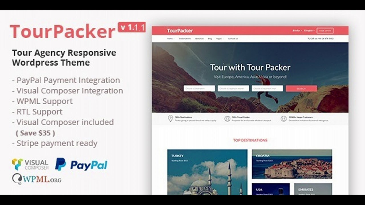 Tour Packer - Tour Agency WordPress Theme | Themeforest Website Templates  and Themes