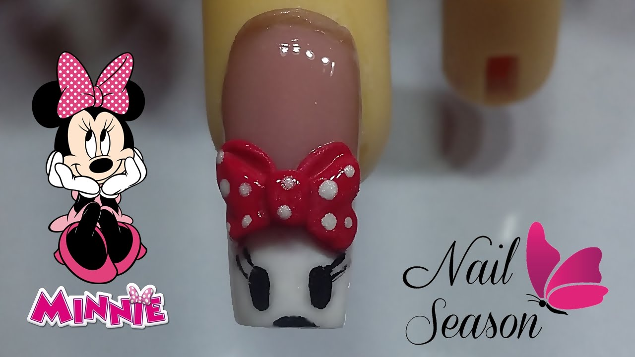 Uñas de acrilico 3d para principiantes - frances minnie mouse - YouTube