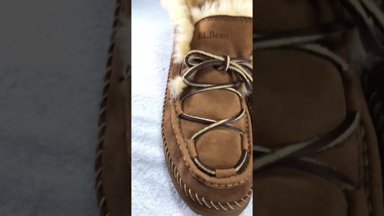 c51ab8b8095661 EUC LL Bean Wicked Good Lodge Chukkas Leather Moccasin Slippers Mens Size  14M