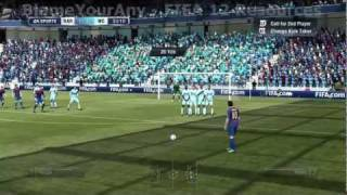 FIFA 12: Free Kick Tutorial (Over The Wall) (HD)(http://www.blameyourany.com FIFA 12 tutorial showing you how to score free kicks by shooting them over the wall. Learn in simple steps how to master the Over ..., 2011-09-18T05:09:20.000Z)