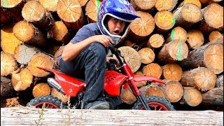 Funny Baby STUCK between WOOD Kid Ride on New Dirt Cross Bike Towing Power Wheel