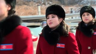North Korean cheerleaders in high spirits on Olympic arrival