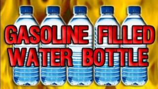 gasoline filled water bottle goes boom