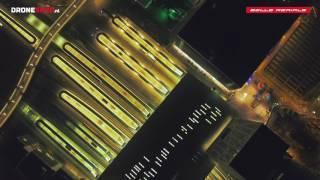 Utrecht Centraal Station Stadsplateau by Night filmed by drone