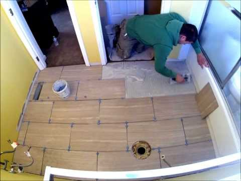 Porcelain Tile Staggered Bathroom Floor Installation Time Lapse