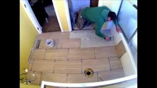 Porcelain Tile Staggered Bathroom Floor Installation Time Lapse(, 2013-12-18T02:17:17.000Z)