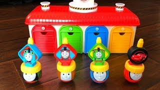 Thomas and Friends Trains Disney Cars Toys Lightning McQueen In Tayo the Little Bus Garage