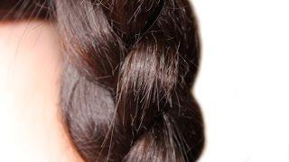 Как сделать  3D косу ★Коса из 4 прядей★прически на средние волосы