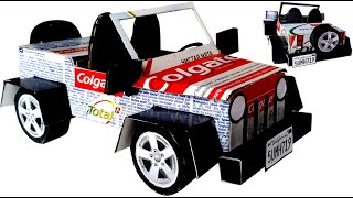 Car Jeep Making from Cardboard Toothpaste box  Colgate Craft