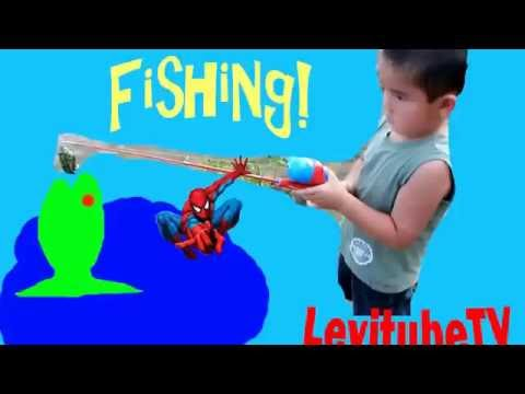 Fishing Kid Levi Fishing With Spiderman Fishing Pole Fun Activity For Kids Outdoor Play Time Nature