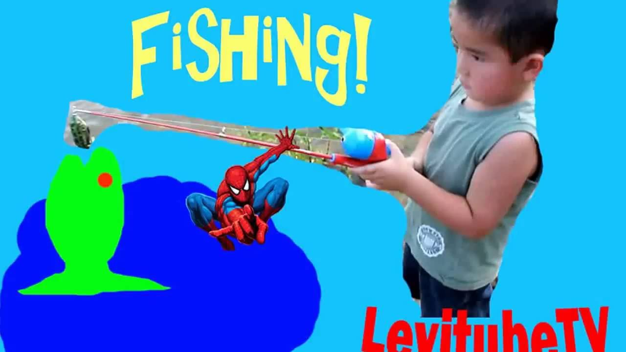 Fishing kid levi fishing with spiderman fishing pole fun for Spiderman fishing pole