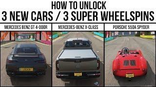 Forza Horizon 4 - How to unlock the Mercedes GT4 / Mercedes X-Class / Porsche 550A and 3 Super Spins