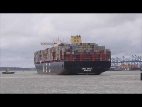 Mega ship MSC Erica  sails to Felixstowe, port swing for berth 9   080317