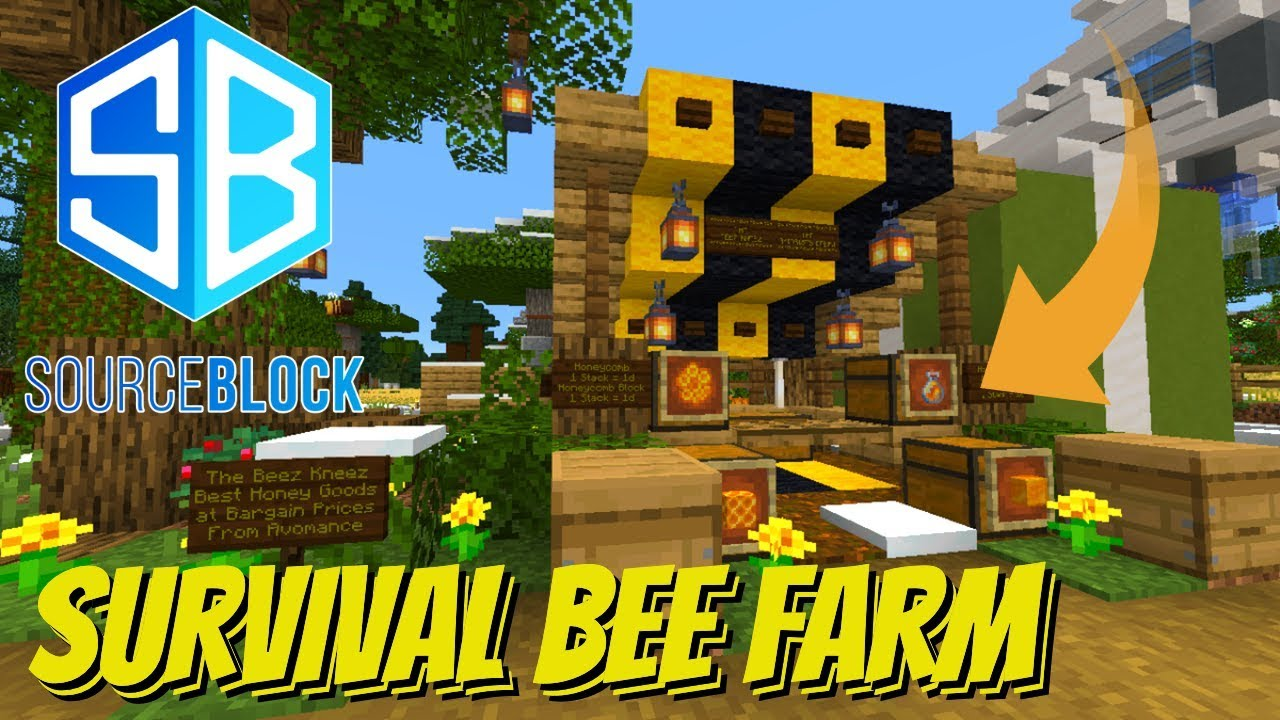 How to Make a Bee Farm on a Minecraft Survival SMP: The SourceBlock SMP  Honey Shop (Avomance)