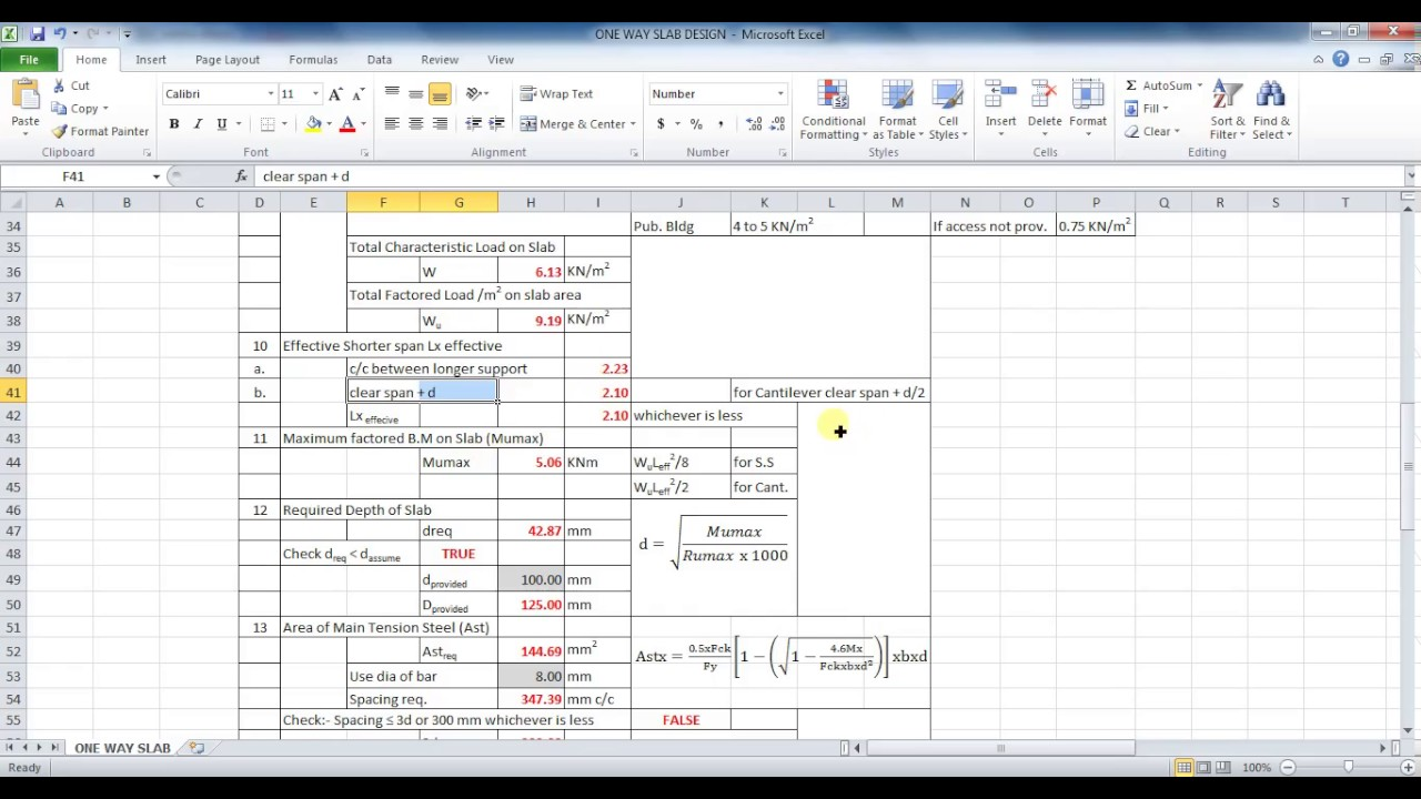 analysis design of one way slab in microsoft excel unite coaching