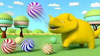 Вино играет с шариками и учит цифры и цвета - Учимся вместе с Дино | Обучающие видео для детей