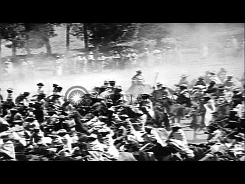 Basothos welcome King George VI and the rest of the British Royal family in Basut...HD Stock Footage