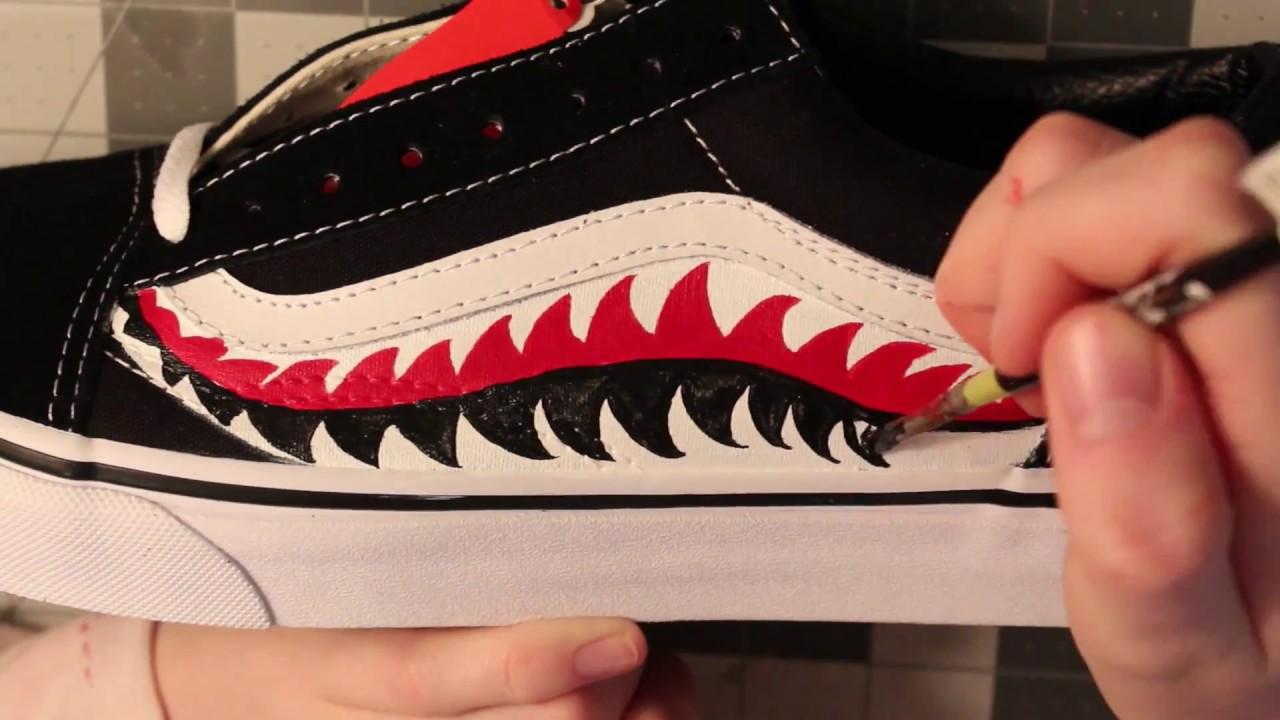 cheaper e1ff5 b1be7 Bape Sharktooth Vans Old Skool CUSTOMS TIMELAPSE