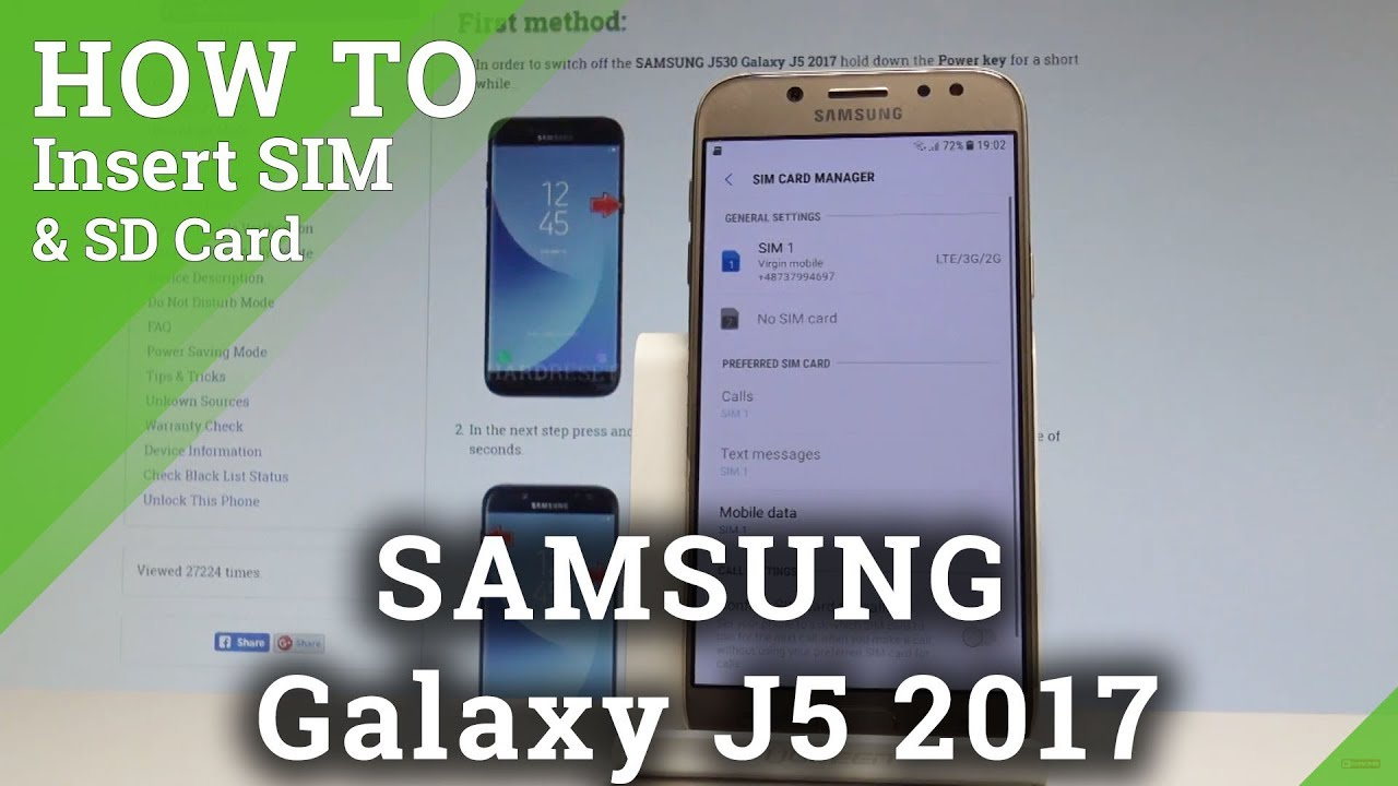 How to Insert SIM and SD Card in SAMSUNG Galaxy J5 2017 |HardReset info